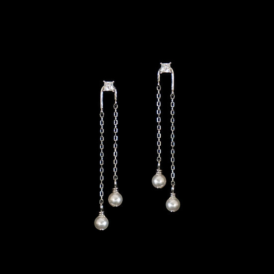 CORNELIA Zircon & Swarovski Crystal Pearl Drop Earrings