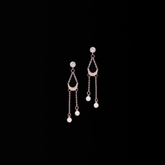 OCULUS S925 Rose Gold Zircon & Swarovski Crystal Pearl Drop Earrings