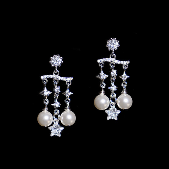 ELLINGFORD KYA Zircon & Swarovski Crystal Pearl Drop Earrings