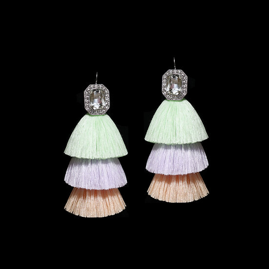 VIOLA KYA Crystal Vintage Tassel Hoop Earrings