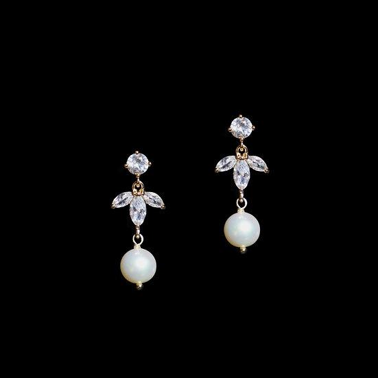 ZENOBIA Zircon & Freshwater Pearl Drop Earrings