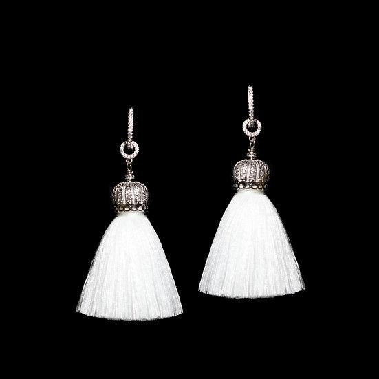 DEBORA QUEEN Zircon Two Way Tassel Earrings