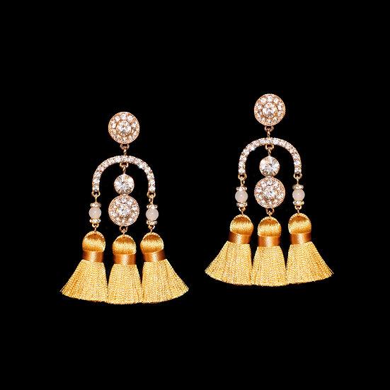 BEATRICE Crystal & Natural Stone Tassel Earrings