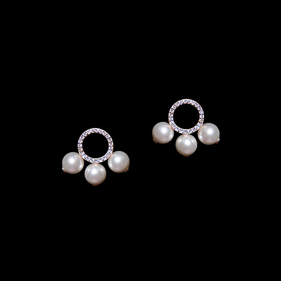 LEILANI S925 Rose Gold Zircon & Swarovski Crystal Pearl Earrings