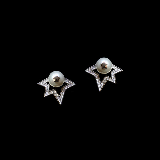 LOZANO Zircon & Swarovski Crystal Pearl Stud Earrings