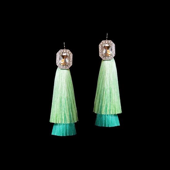 VIOLA Crystal Vintage Tassel Hoop Earrings