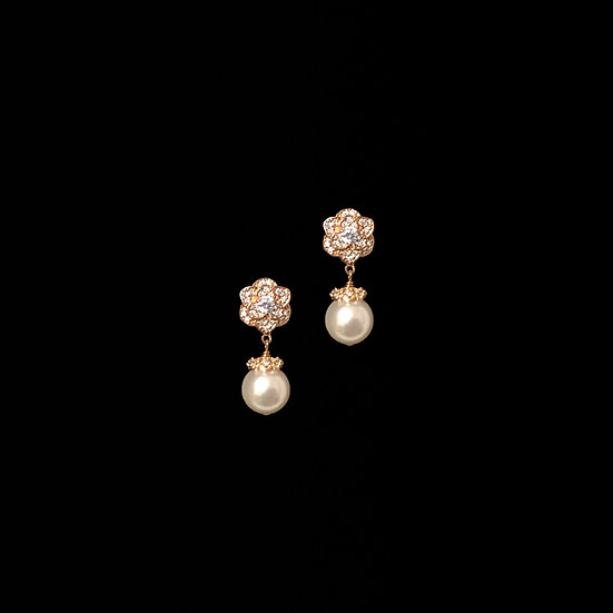 QUEENA 24K Rose Gold Plating Zircon & Swarovski Crystal Pearl Drop Earrings