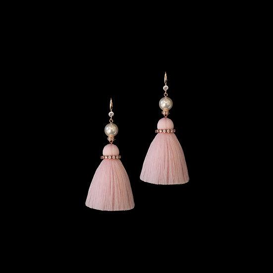 DEBORA GRANDEUR S925 Rose Gold Zircon & Swarovski Crystal Pearl Tassel Earrings
