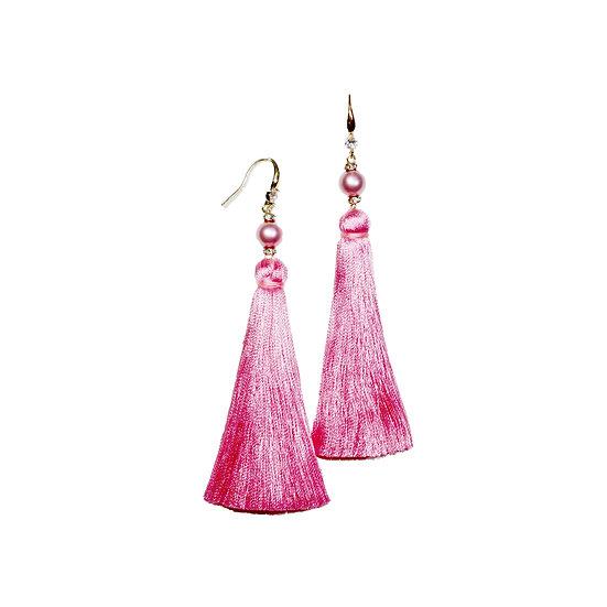 DEBORA Zircon & Swarovski Crystal Pearl Tassel Earrings