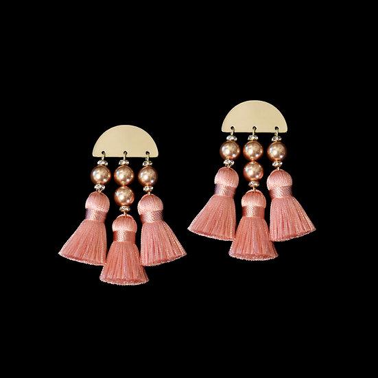 LATIFAH Swarovski Crystal Pearl Vintage Tassel Earrings