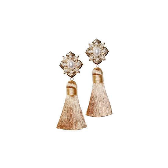ARLENE Pearl Vintage Tassel Earrings