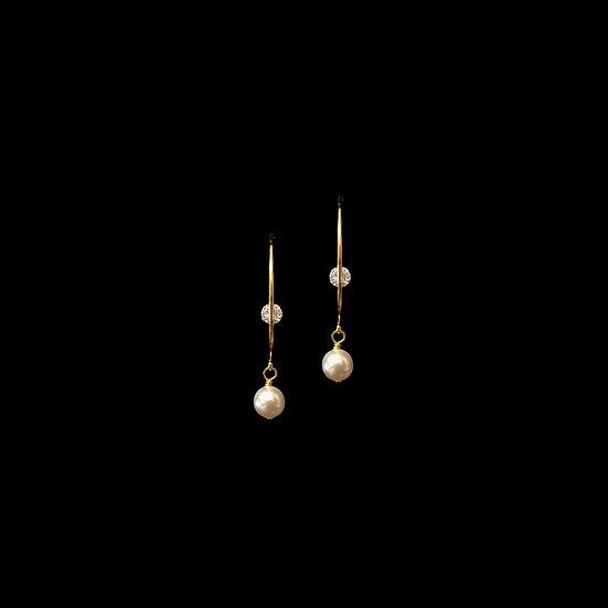 CELESTE Zircon & Swarovski Crystal Pearl Hoop Earrings