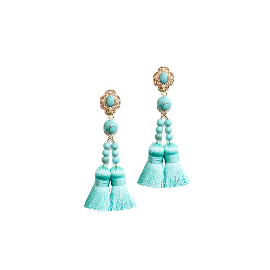 BLERTA Natural Stone Tassel Earrings