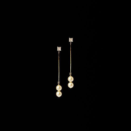 BEULAH Zircon & Swarovski Crystal Pearl Drop Earrings