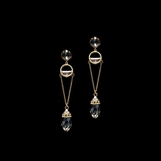 GUTTATE GOLD Swarovski Crystal Drop Earrings