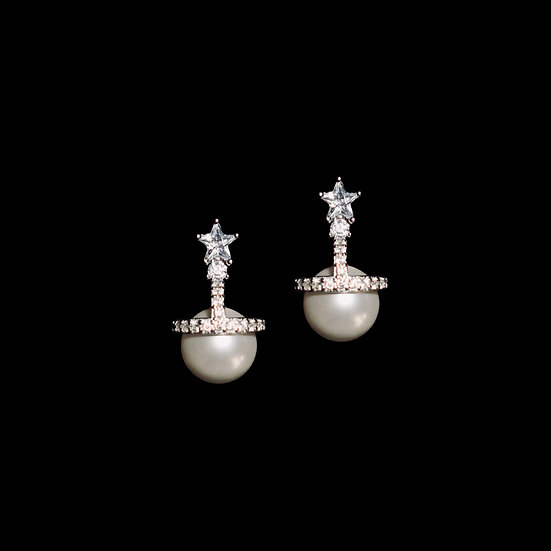 CARLS KYA Zircon & Swarovski Crystal Pearl Earrings