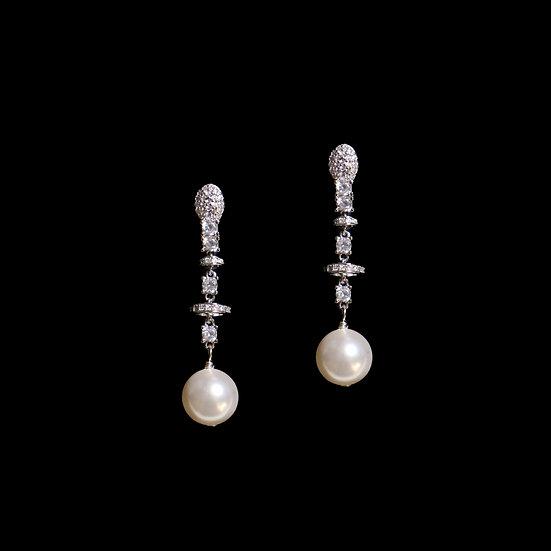 DIANA Zircon & Swarovski Crystal Pearl Drop Earrings