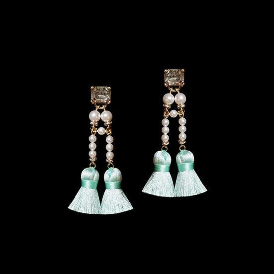 SHEILA Swarovski Crystal Pearl Vintage Tassel Earrings
