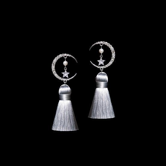 SEMINE Zircon & Swarovski Crystal Pearl Vintage Tassel Earrings