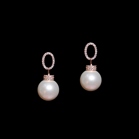 IMPERIA S925 Rose Gold Zircon & Swarovski Crystal Pearl Drop Earrings