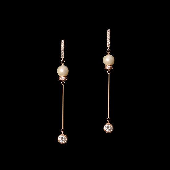 KITIARA S925 Rose Gold Zircon & Freshwater Pearl Earrings