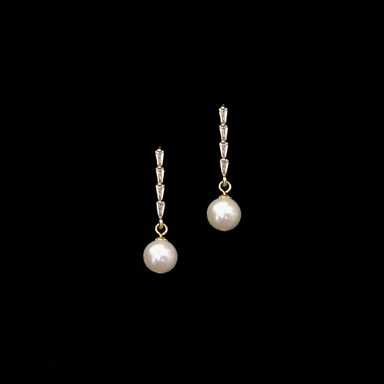 MARGUERITE Zircon & Freshwater Pearl Clip-On Drop Earrings