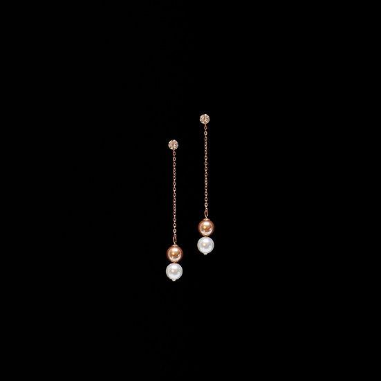 GRACE S925 Rose Gold Zircon & Swarovski Crystal Pearl Drop Earrings