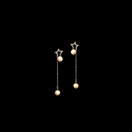 LUCY Zircon & Freshwater Pearl Drop Earrings