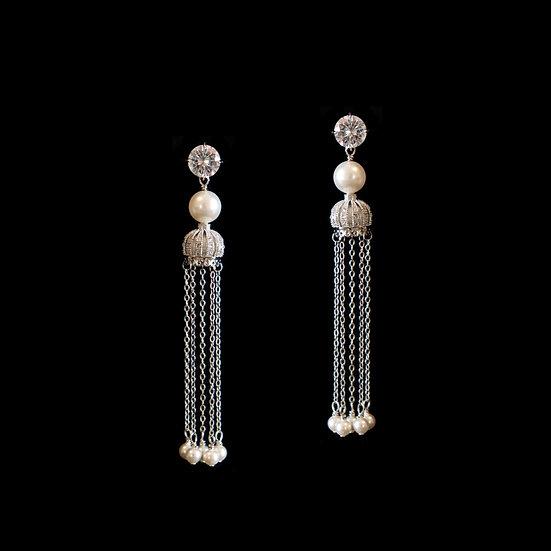 AALIYAH Sterling Silver Zircon & Swarovski Crystal Pearl Drop Earrings