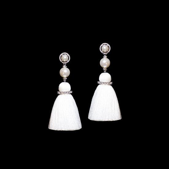 DOREEN Zircon & Swarovski Crystal Pearl Tassel Earrings
