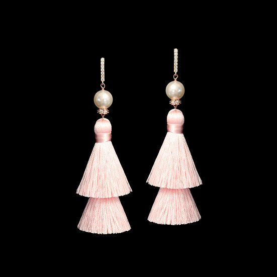 DEBORA GRANDEUR S925 Rose Gold Zircon & Swarovski Crystal Pearl Tassel Earrings