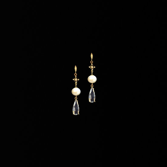 ADELA Freshwater Pearl & Rain Drop Earrings