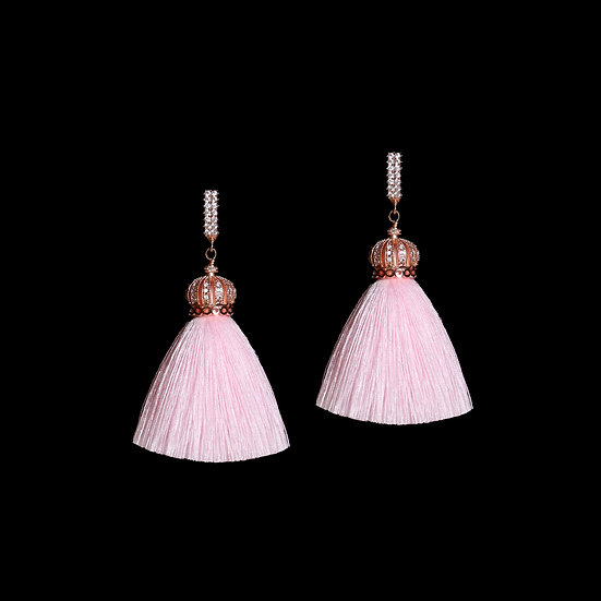 DARLENE GRANDEUR 24K Rose Gold Plating Zircon Tassel Hoop Earrings