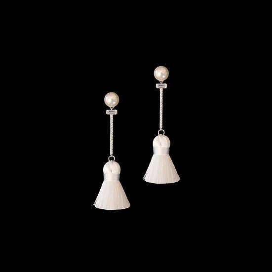 ANDREA Zircon & Swarovski Crystal Pearl Tassel Earrings