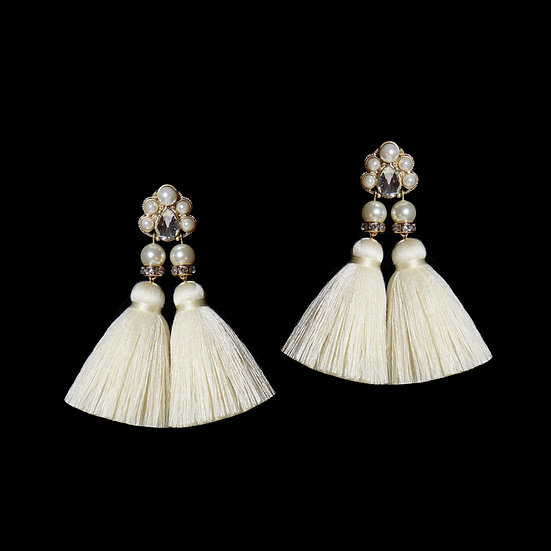 CORELLA KYA Swarovski Crystal Pearl Vintage Tassel Earrings
