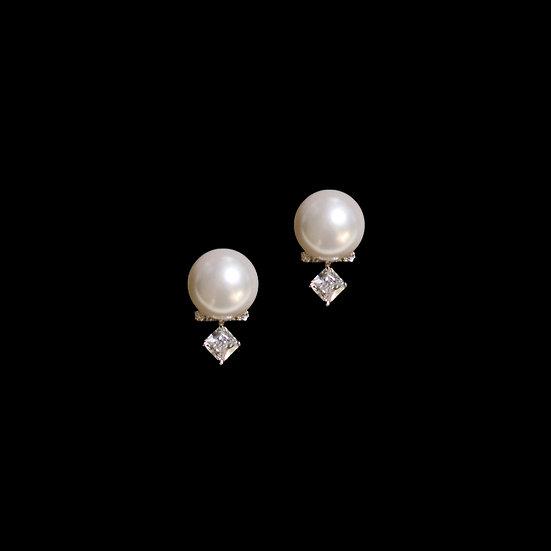 EILEEN Zircon & Swarovski Crystal Pearl Stud Earrings