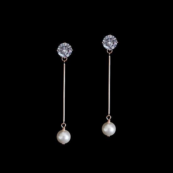 LOUSIA QUEEN S925 Rose Gold Zircon & Swarovski Crystal Drop Earrings
