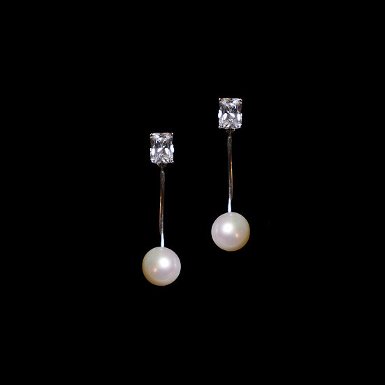 SILVERDEW GRANDEUR Zircon & Freshwater Pearl Two Way Earrings