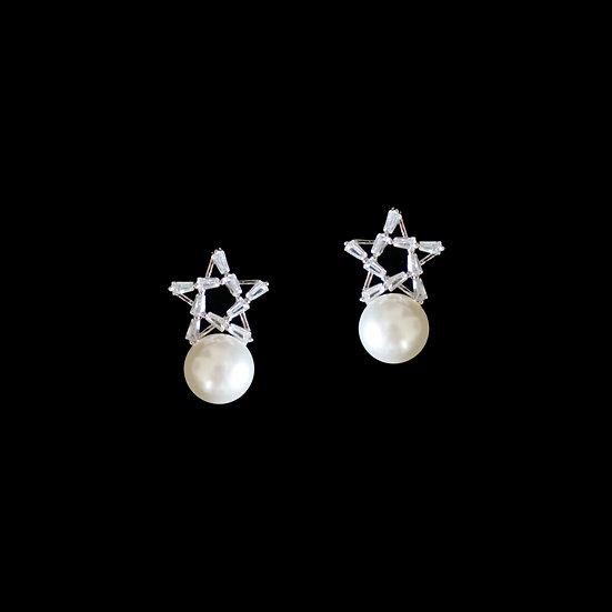 STARLENE Sterling Silver Zircon & Swarovski Crystal Pearl Earrings