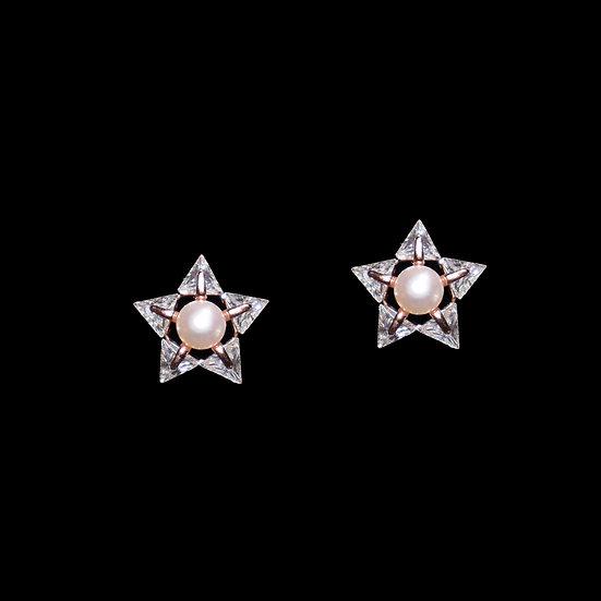 MORRISSY S925 Rose Gold Zircon & Freshwater Pearl Earrings