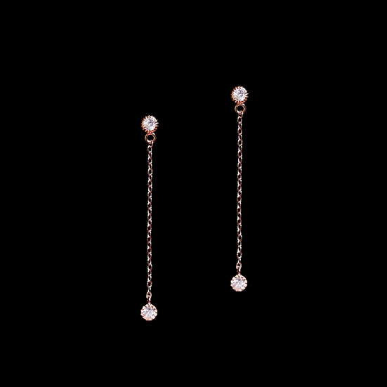 GWENDOLYN KYA S925 Rose Gold Zircon Drop Earrings