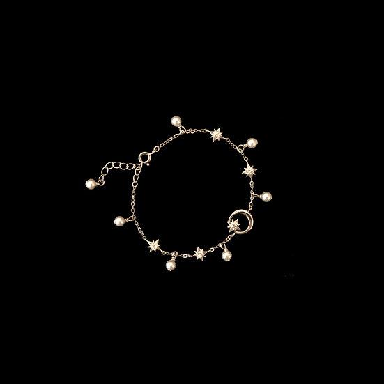 ( PRE-ORDER ) SILVER - LA LUNE Zircon & Swarovski Crystal Pearl Bracelet