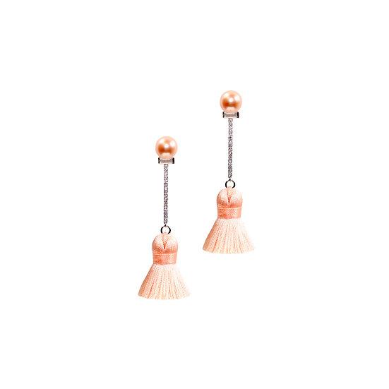 ANDREA Zircon & Swarovski Crystal Pearl Tassel Earrings