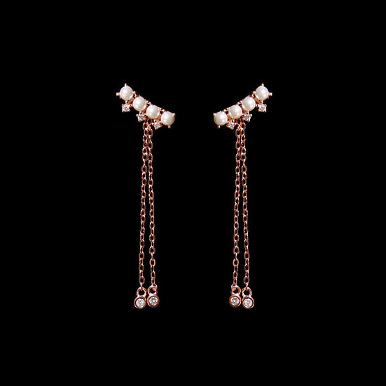 LILLIAN S925 Rose Gold Zircon & Swarovski Crystal Pearl Two Way Earrings