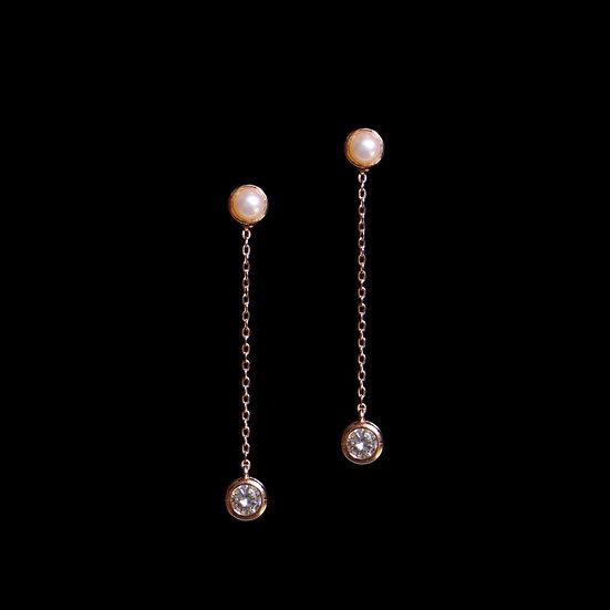 KITIARA S925 Rose Gold Zircon & Freshwater Pearl Two Way Earrings