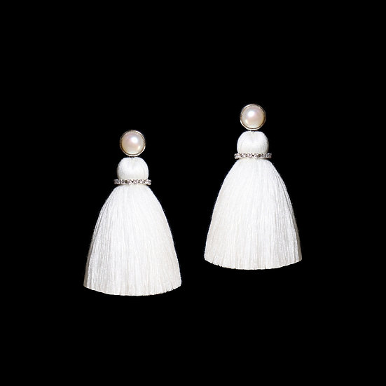 HELENA GRANDEUR Freshwater Pearl Tassel Earrings