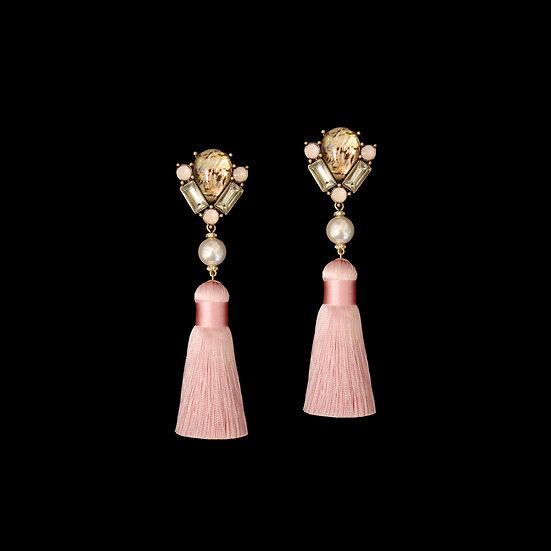 ZANNA Artifical Stone & Swarovski Crystal Pearl Vintage Tassel Earrings