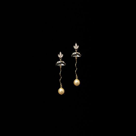 CALISTA Zircon & Swarovski Crystal Pearl Drop Earrings