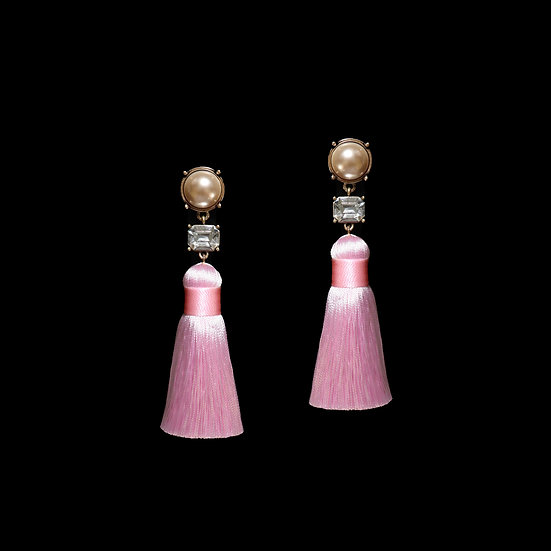 SARA Crystal & Pearl VintageTassel Earrings