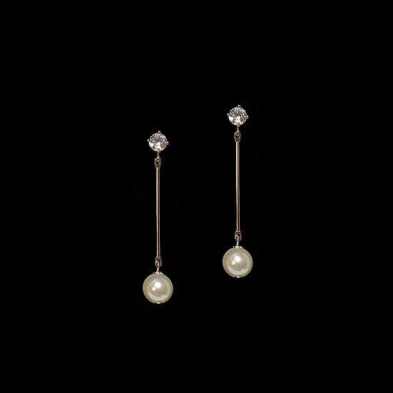 LOUSIA Zircon & Swarovski Crystal Pearl Drop Earrings